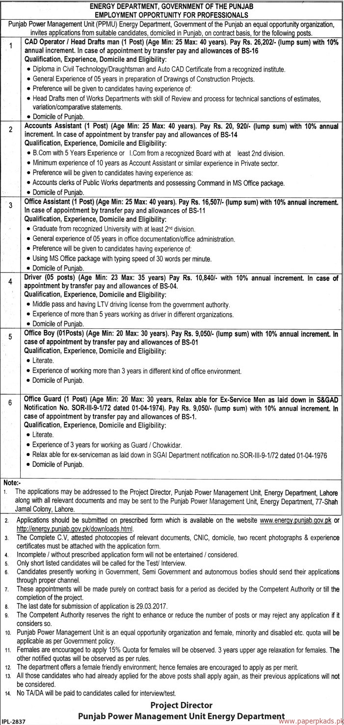 Punjab Power Management Unit Energy Department Jobs - The News Jobs ads 17 March 2017