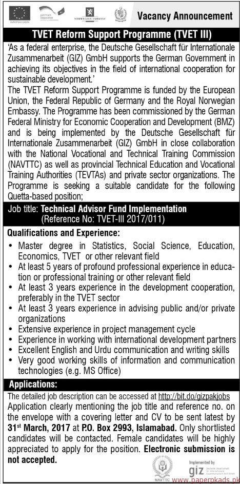 Technical Advisors required - The News Jobs ads 17 March 2017