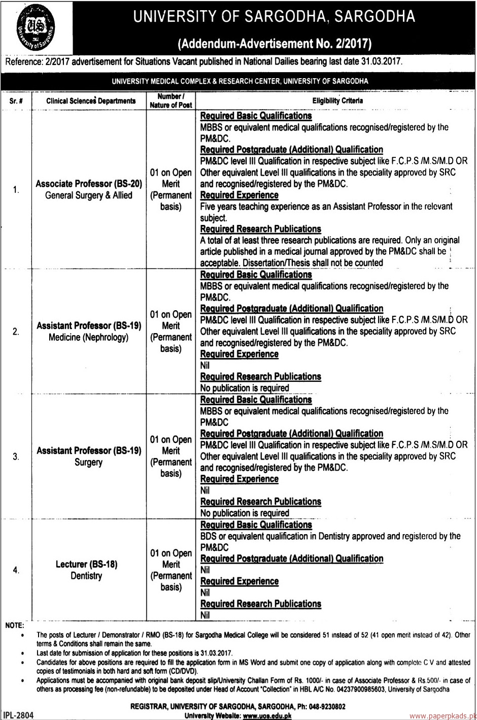 University of Sargodha Jobs - The News Jobs ads 17 March 2017