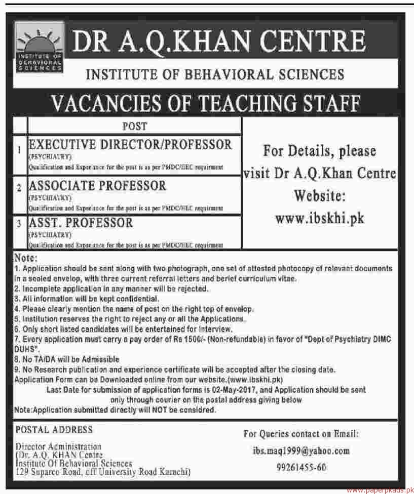 Behavioral Sciences: Dr AQ Khan Centre Institute Of Behavioral Sciences Jobs