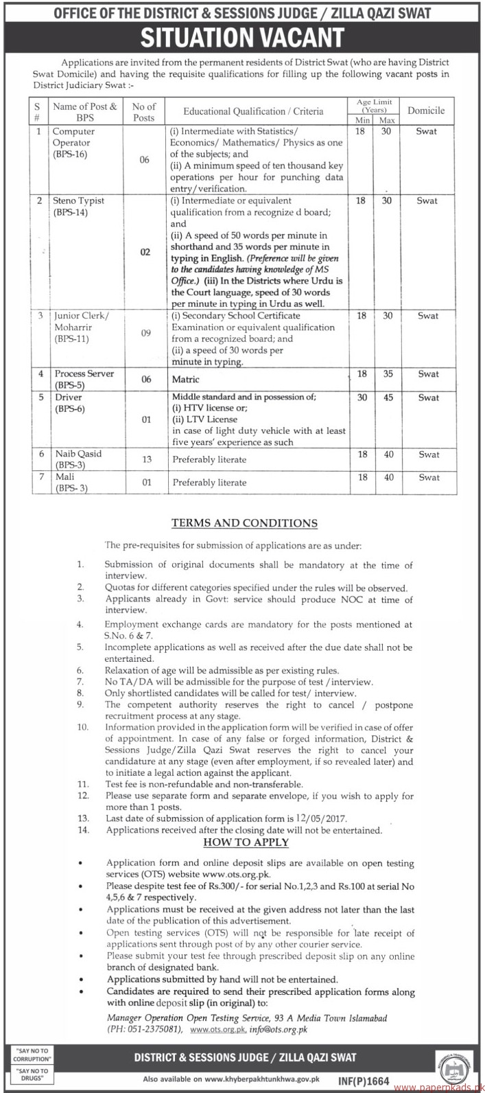 Office of the District & Session Judge Swat Jobs