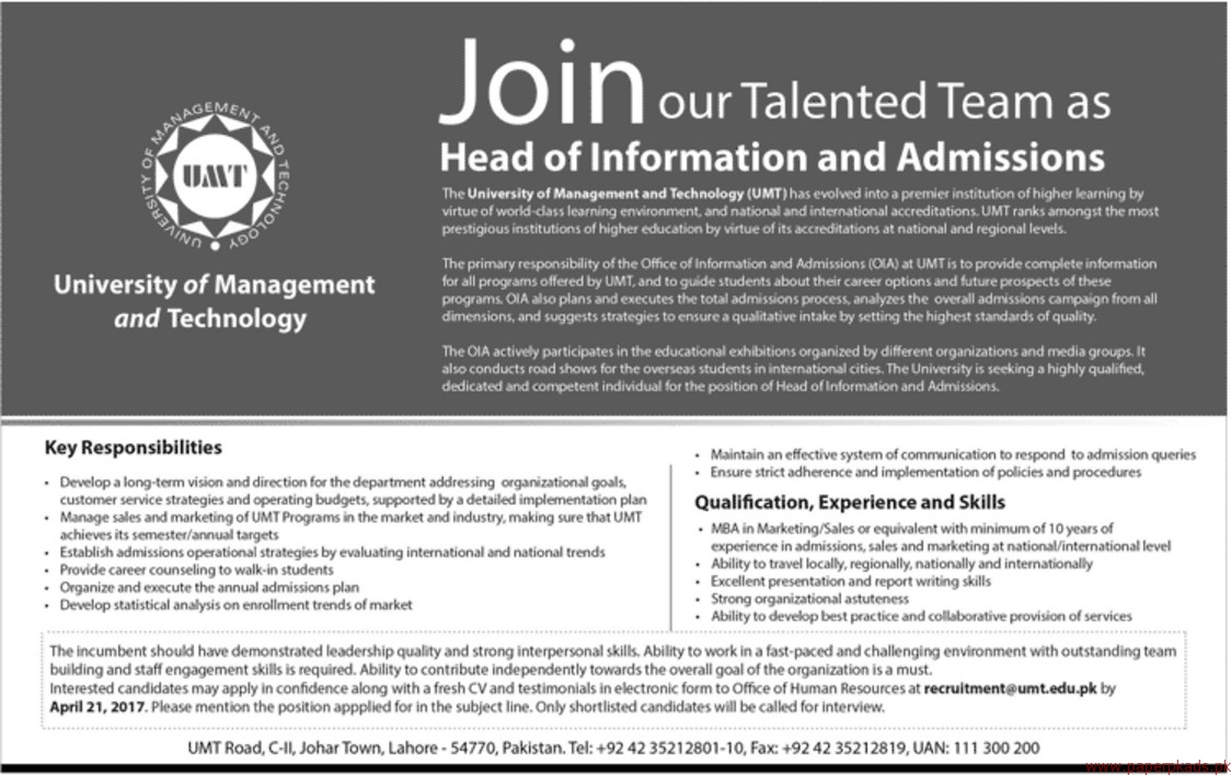 University of Management and Technology Jobs