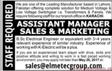 Assistant Manager Sales & Marketing Jobs