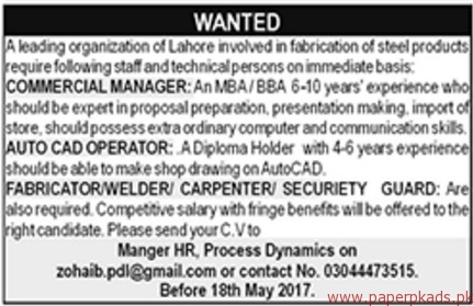 Commercial Manager Auto Cad Operators And Security Guards Jobs  Paperpk