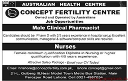 Concept Fertility Centre Jobs