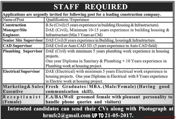 Construction Managers Senior Site Supervisor CAD Supervisor and Other Jobs