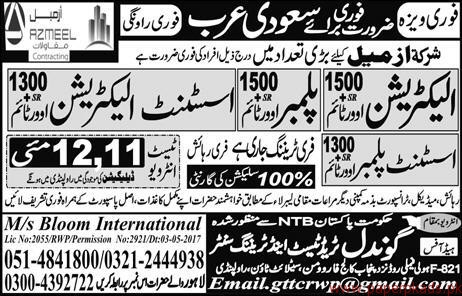 Electricians Plumbers Assistant Electricians and Other Jobs in Saudi Arabia