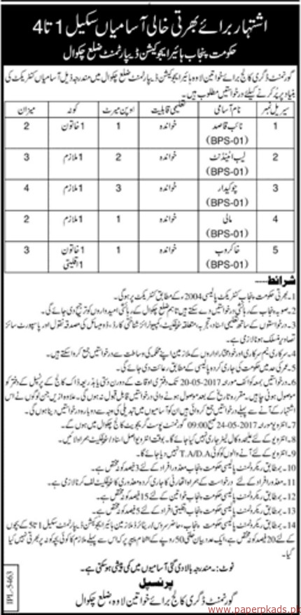 Government Degree College for Women Jobs 3