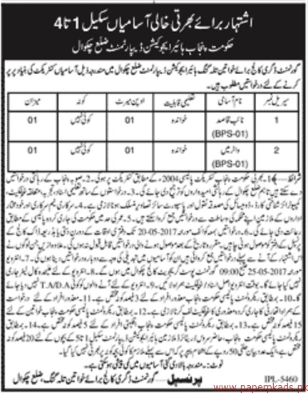 Government Degree College for Women Jobs