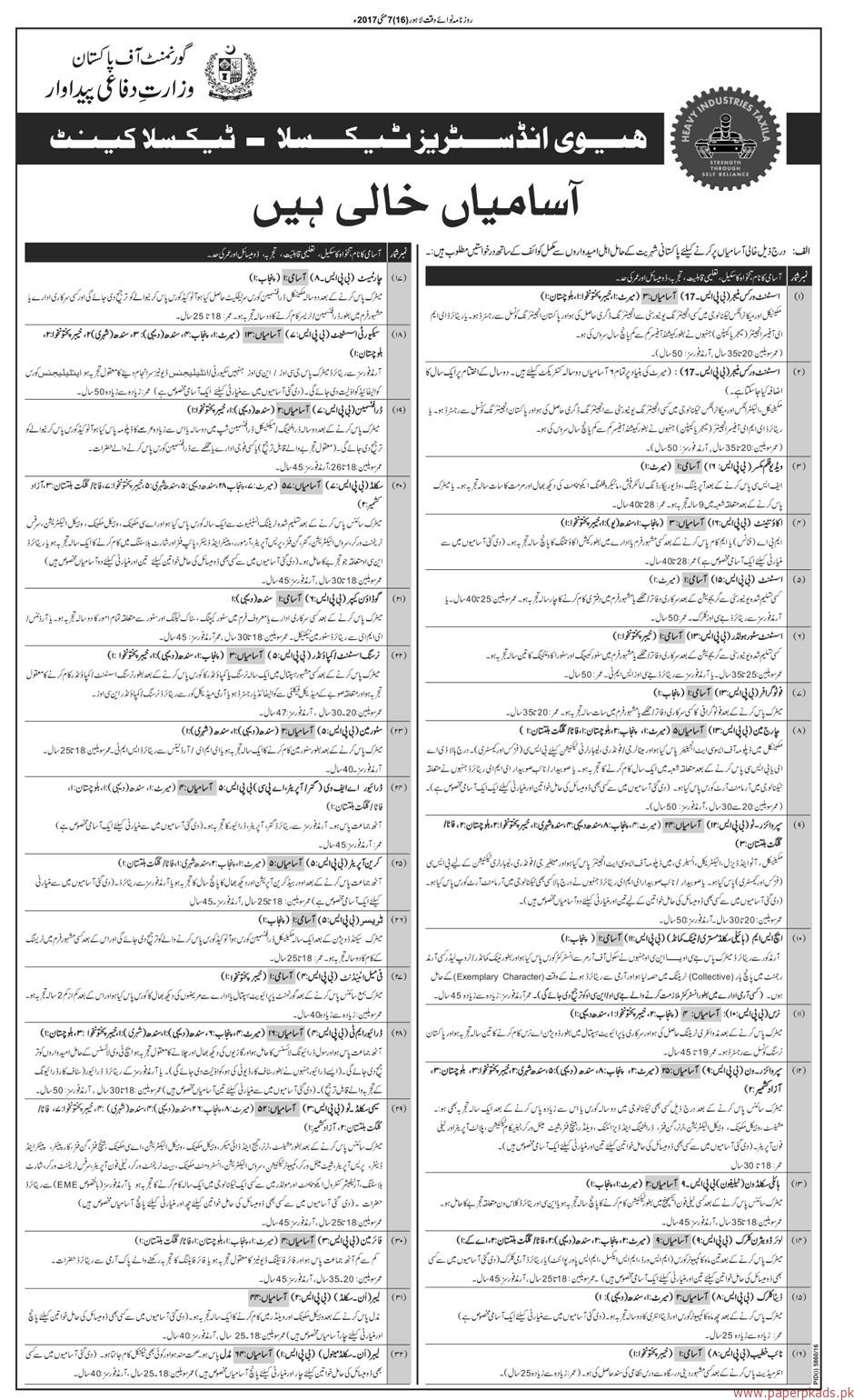 Government of Pakistan - Ministry of Defence - Heavy Industries Taxila Jobs Part 1