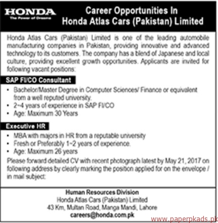 Honda Atlas Cars Pakistan Limited Jobs