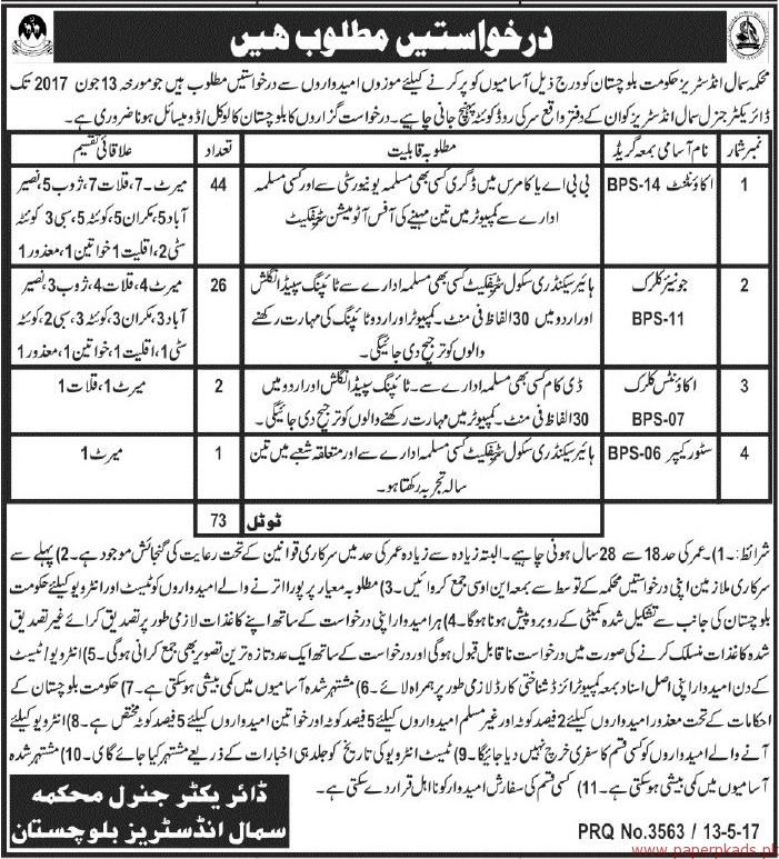 Small Industries Balochistan Jobs