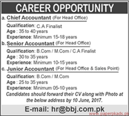Chief Accountant Senior Accountant And Junior Accountant Jobs  Paperpk