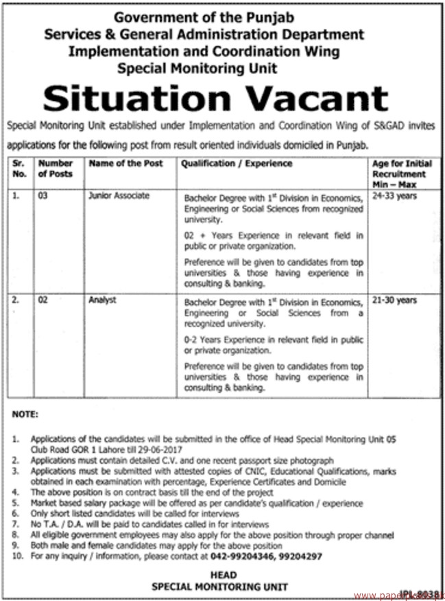 Government of the Punjab - Services & General Administration Department Jobs