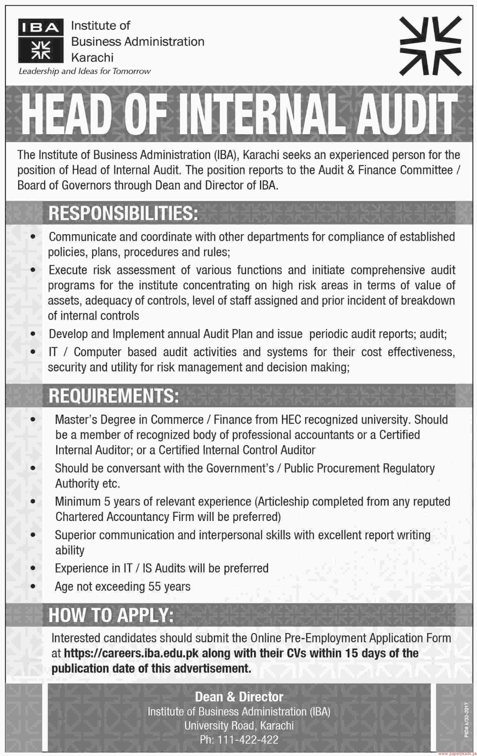 institute of business administration karachi jobs paperpk