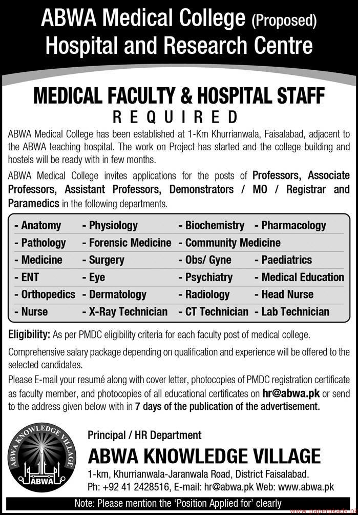 ABWA Medical College Hospital and Research Centre Jobs - PaperPk