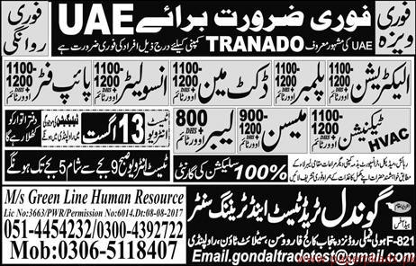 Electricians Plumbers Ductman Insulators and Other Jobs in UAE