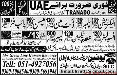 Electricians Plumbers Ductman Mason Jobs in UAE