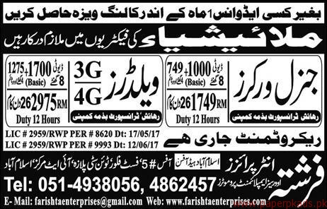 General Workers and Welders Jobs in Malaysia