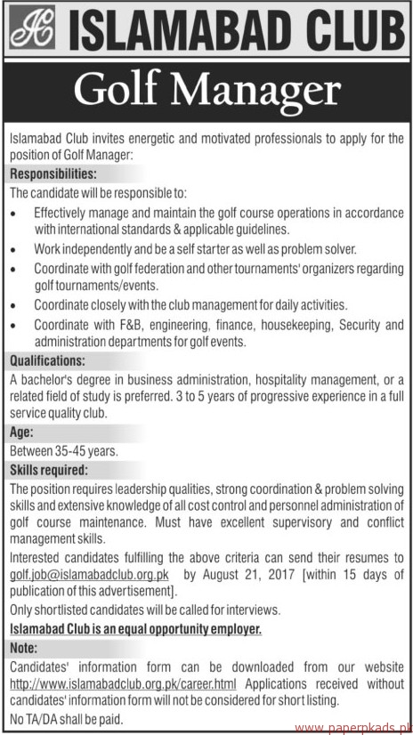 Islamabad Club Staff Required