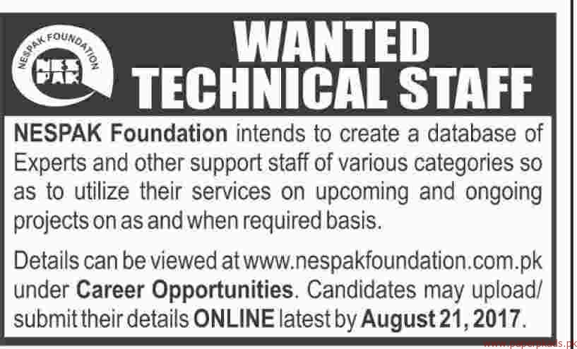 NESPAK Foundation Staff Required 2017