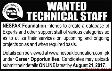 NESPAK Foundation Staff Required
