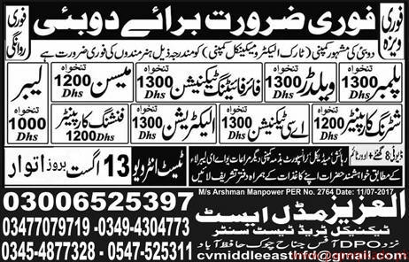 Plumbers Welders Technicians Mason Labours and Other Jobs in Dubai