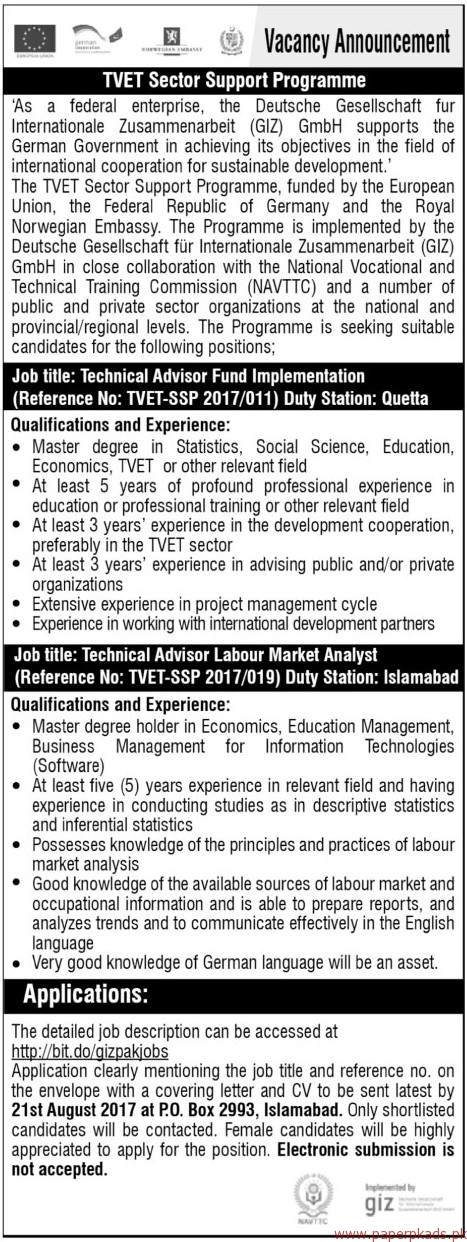 Technical Advisors Required