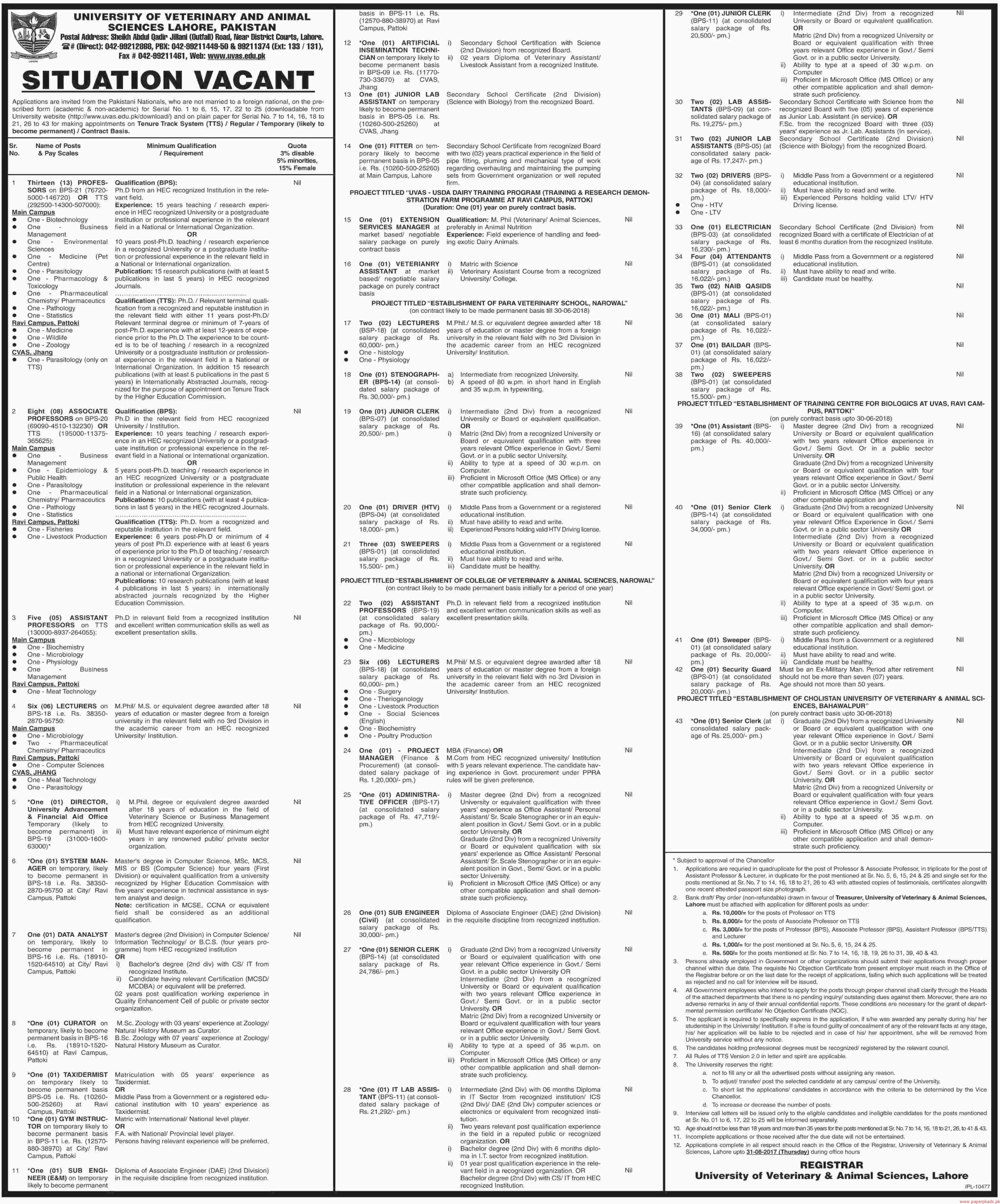 University of Veterinary and Animal Sciences Lahore Pakistan Jobs 2017