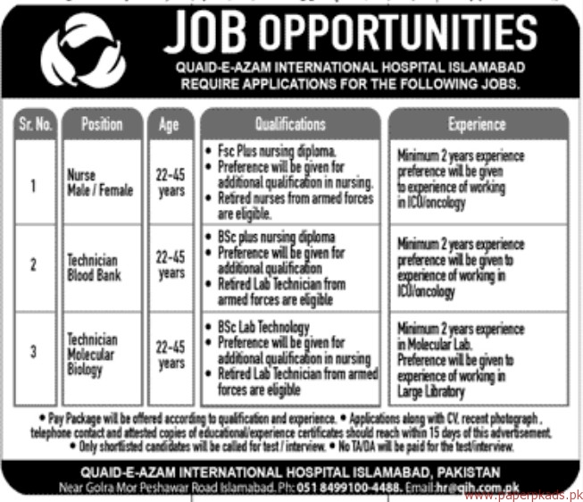 quaid-e-Azam International Hospital Islamabad Jobs 2017