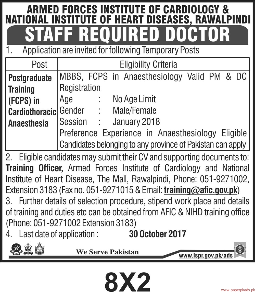 Armed Forces Institute of Cardiology & National Institute of Heart Diseases Jobs 2017
