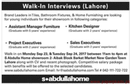 Assistant Manager Project Executives Sales Executives Jobs 2017