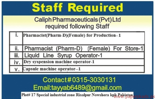 Caliph Pharmaceuticals Private Limited Jobs 2017