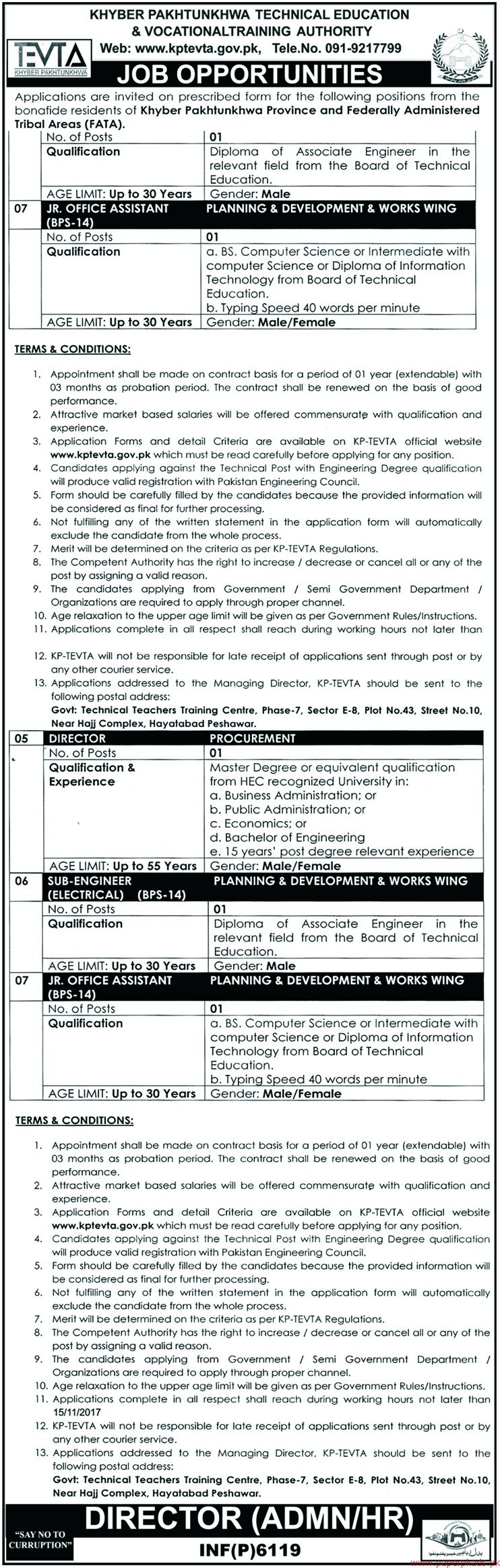 KPK Technical Education & Vocational Training Authority Jobs 2017