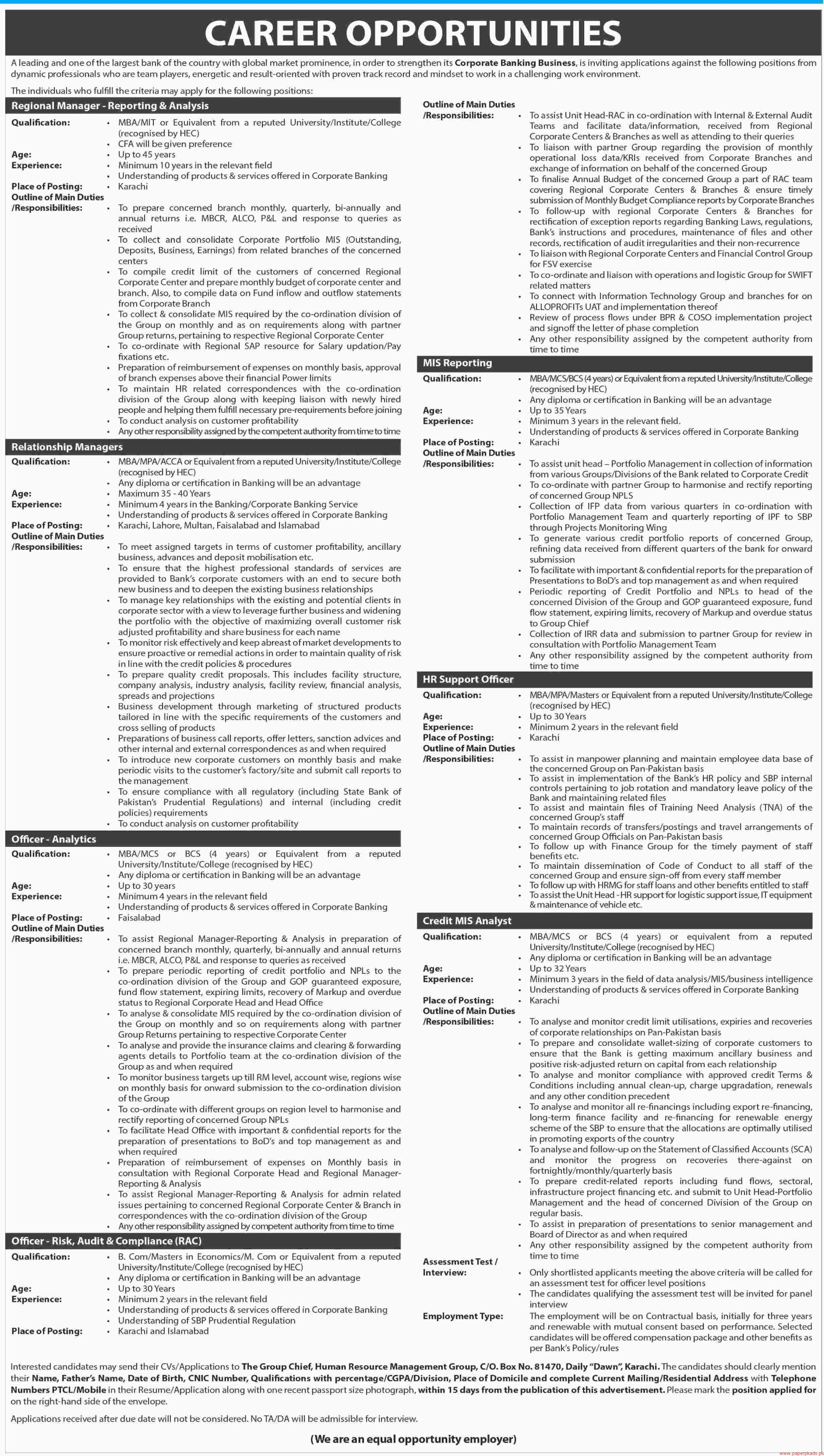 Largests Bankf of the Country Jobs 2017