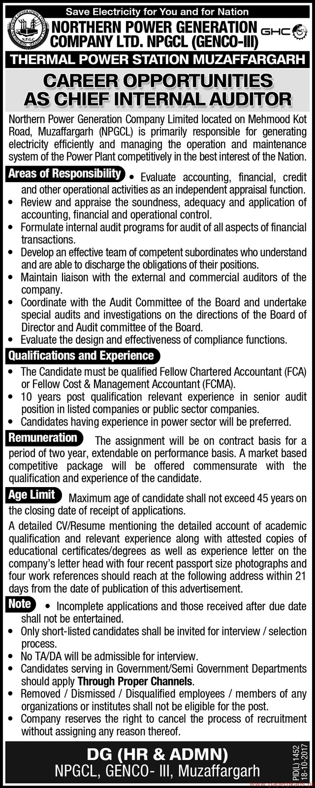 Northern Power Generation Company Limited Jobs 2017