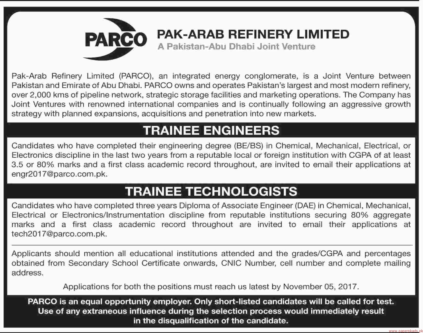 Pak Arab Refinery Limited Jobs 2017