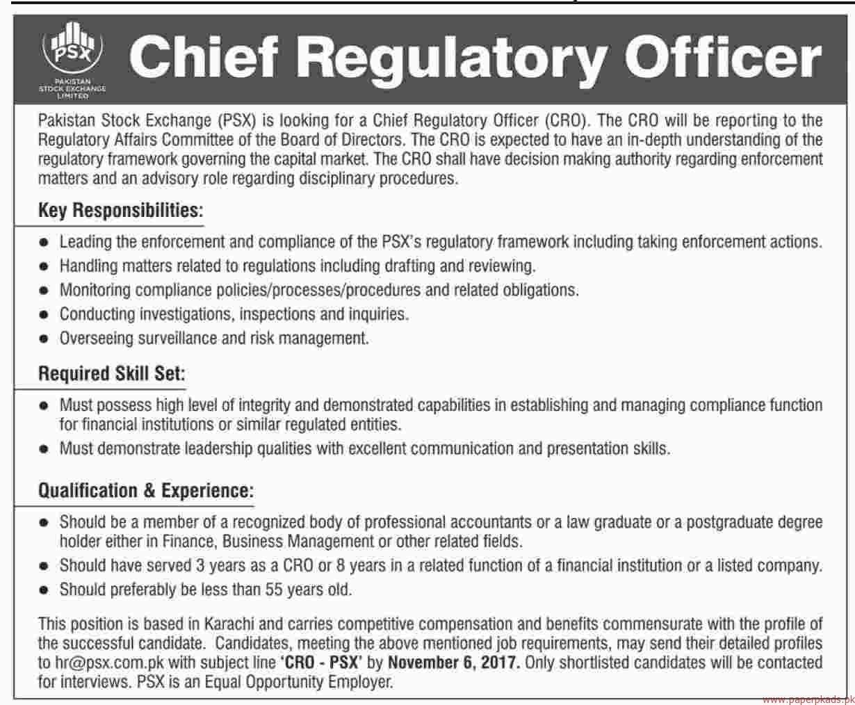 Pakistan Stock Exchange Jobs 2017