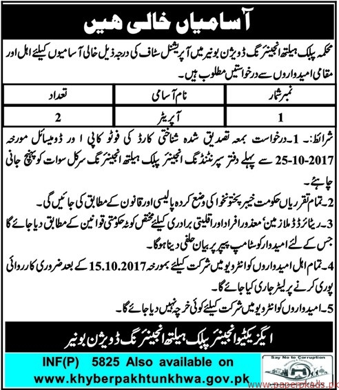 Public Health Engineering Division Jobs 2017