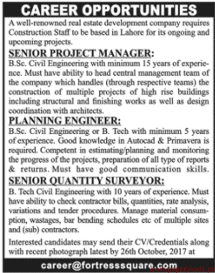 Real Estate Development Companies : Real estate development company jobs paperpk