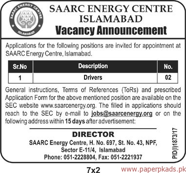 SAARC Energy Centre Islamabad Jobs 2017