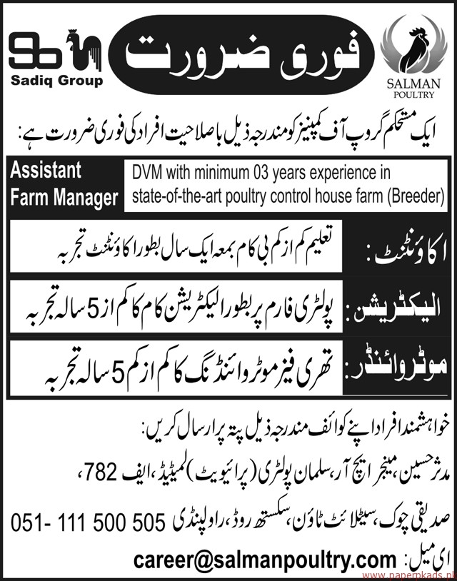 Sadiq Group of Companies Jobs 2017