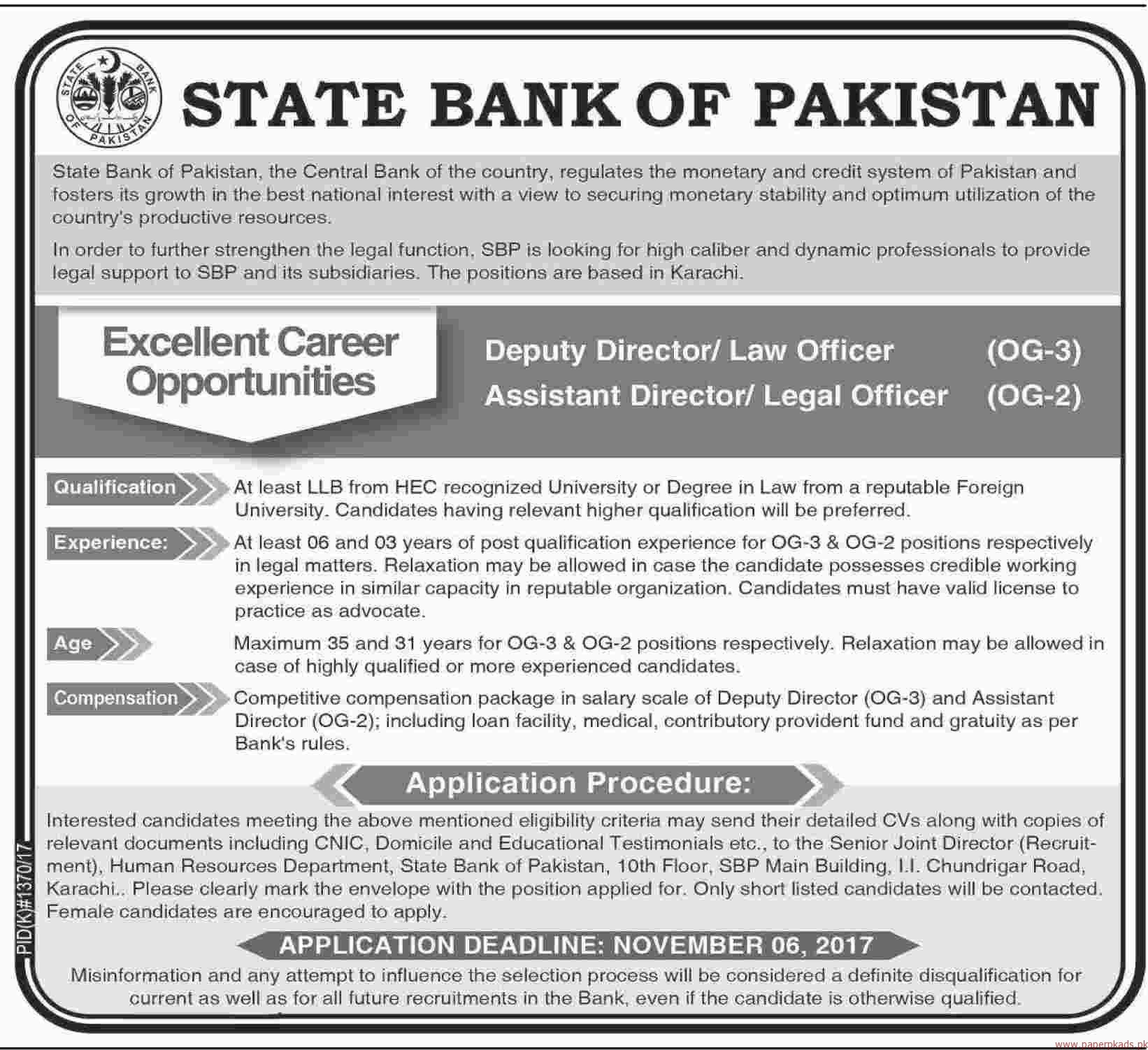 State Bank of Pakistan Jobs 2017