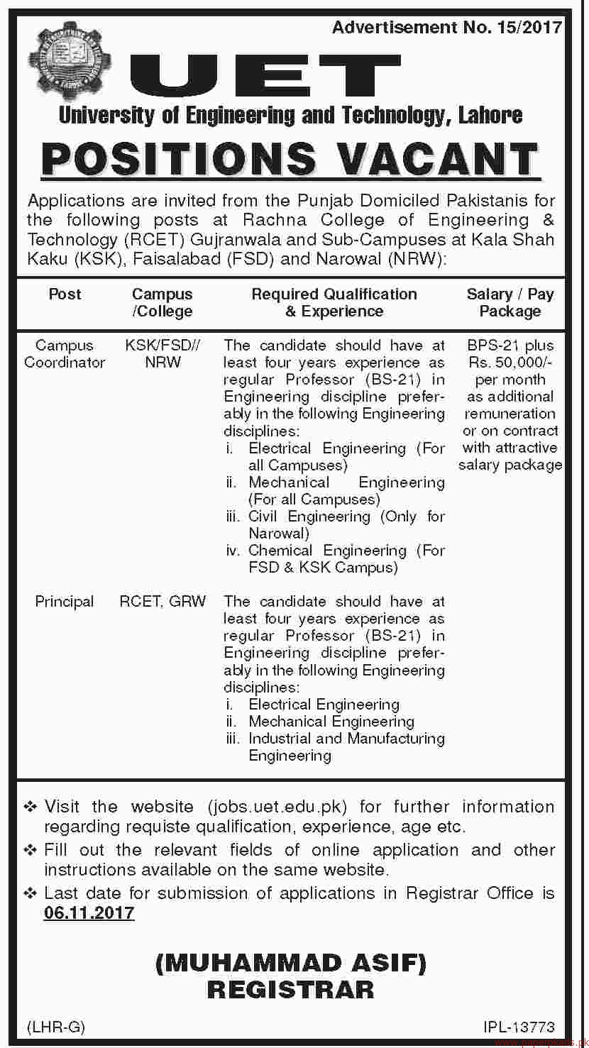 University of Engineering & Technology Lahore Jobs 2017