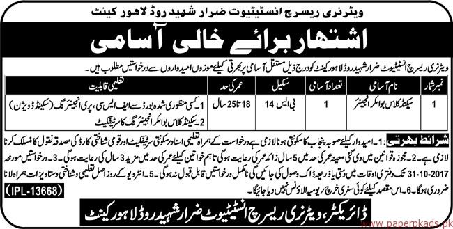 Veterinary Research Institute Lahore Jobs 2017