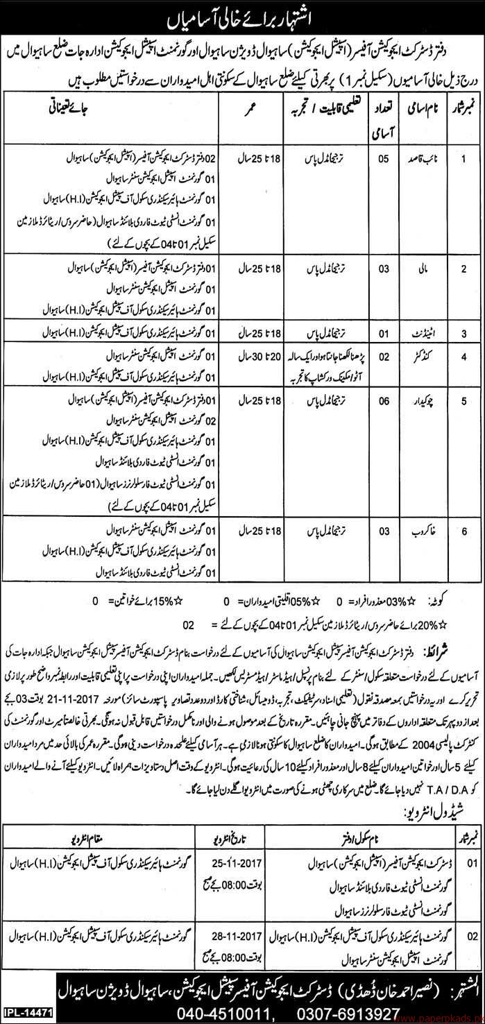District Education Officers Sahiwal Jobs 2017