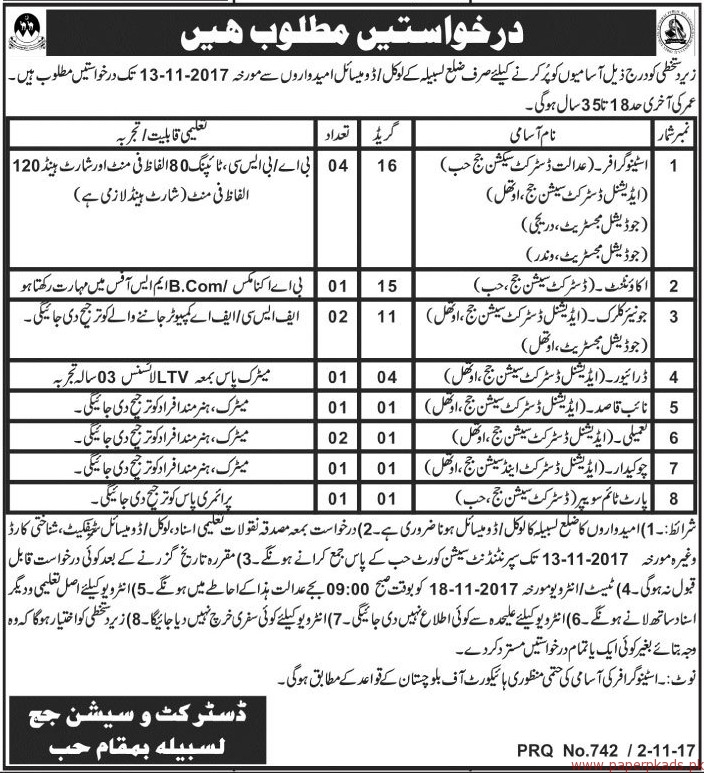District & Session Judge Lasbela Jobs 2017