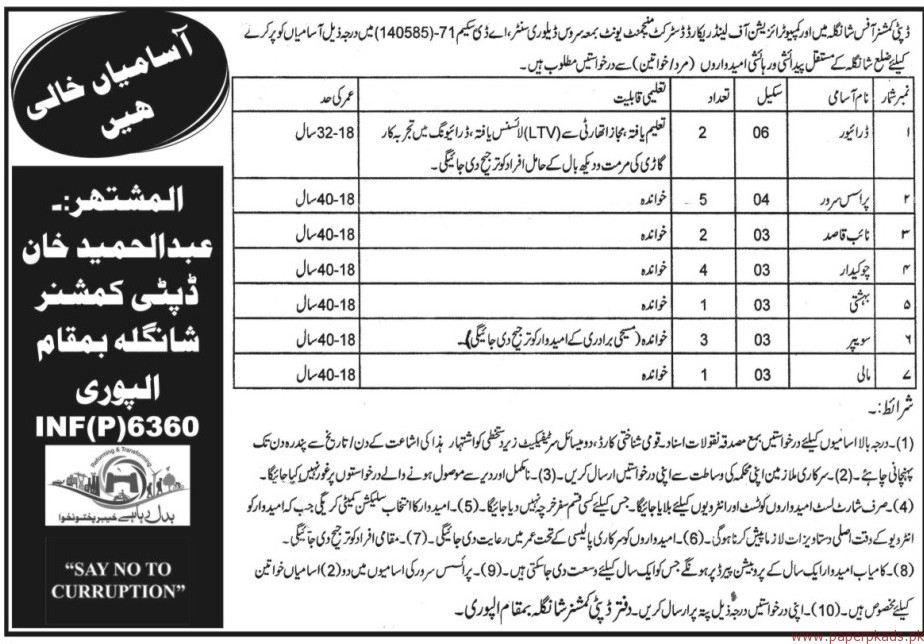 Drivers Naib Qasid Chowkidar and Other Jobs