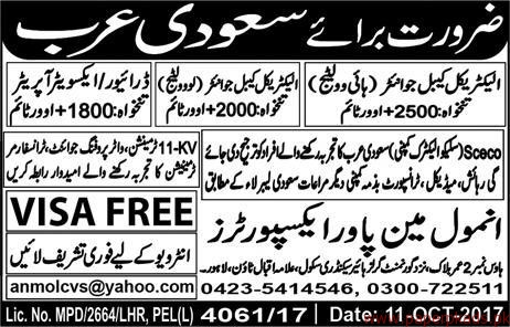 Electrical Cable Jointer Operators and Other Jobs in Saudi Arabia