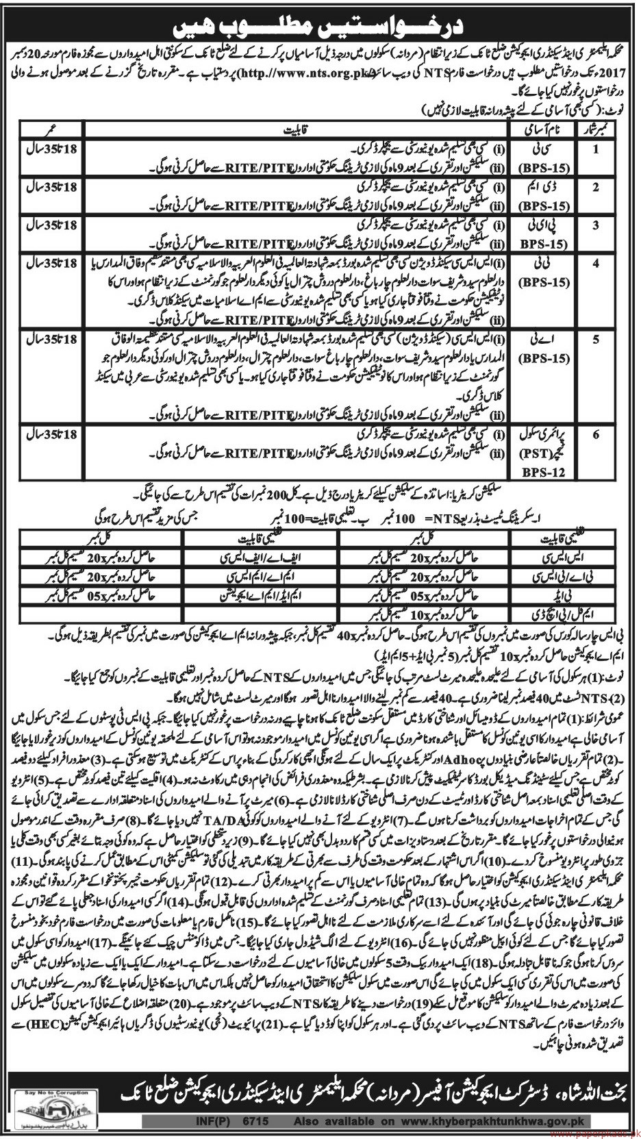 Elementary & Secondary Education District Tanak Jobs 2017